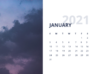 2021 Nature calendar template