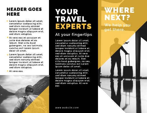 Black and Yellow Travel Brochure Template