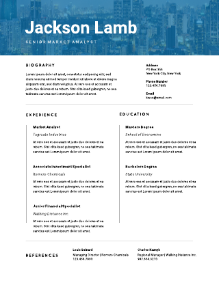 Tinted cityscape resume template