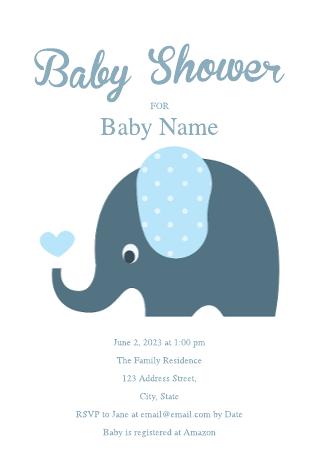 Cute Elephant Baby Shower Invitation Template