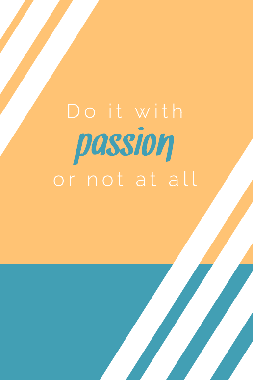 Orange & blue passion quote poster template