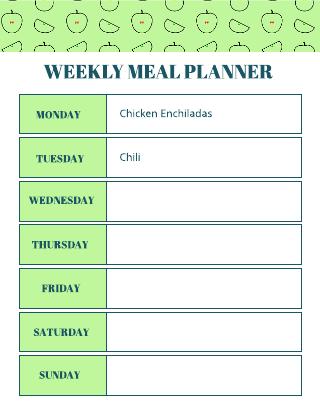 Weekly meal planner template