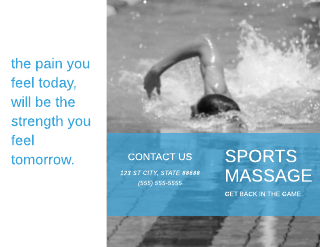 Blue and Black Sports Massage Brochure Template