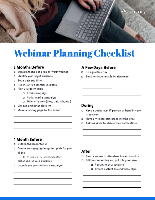 Webinar Planning Kit Templates
