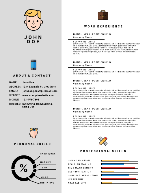 Icon infographic resume template