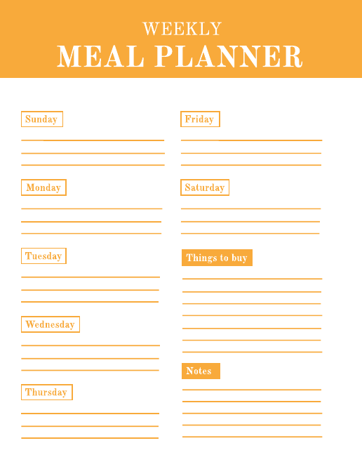 Weekly schedule meal planner template