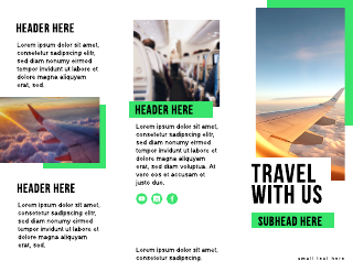 Bright Green Airline Travel Tri-Fold Brochure Template