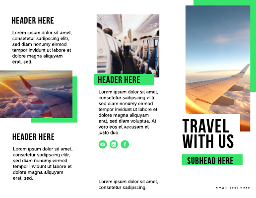 Bright Green Airline Travel Brochure Template