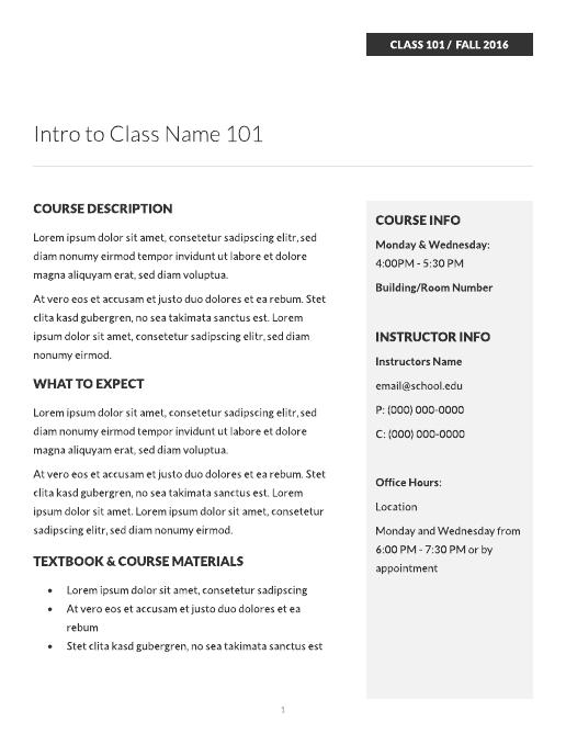 course syllabus template