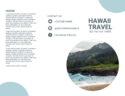 Light Blue Circle Hawaii Travel Brochure Template