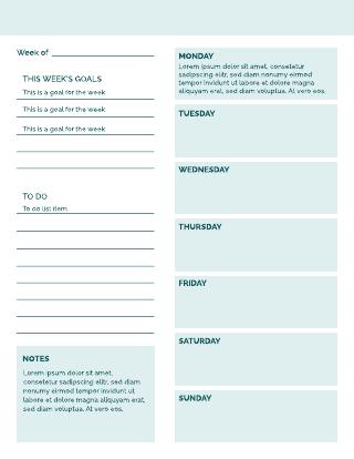 Comprehensive weekly calendar template