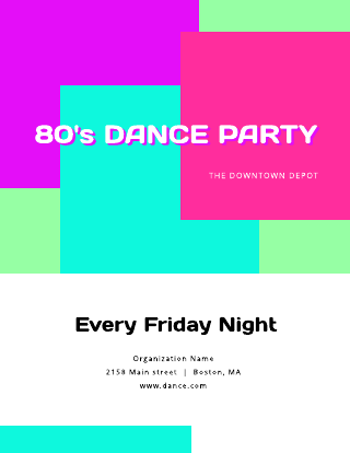 80s Dance Party Flyer Template