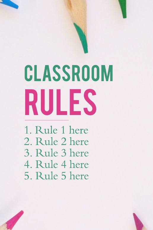 Classroom Rules Education Poster Template