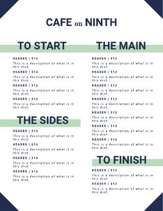 Blue and Green Cafe Menu Template