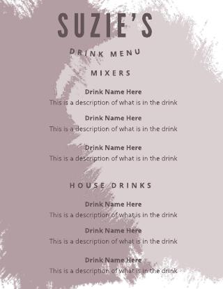 Purple Grunge Drink Menu