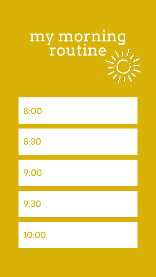 Yellow Morning Routine Instagram Story Template