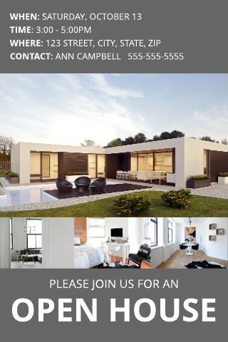 Modern Open House Pinterest Post Template