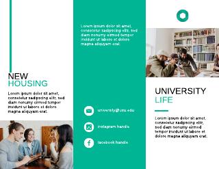 Green College Housing Tri-Fold Brochure Template