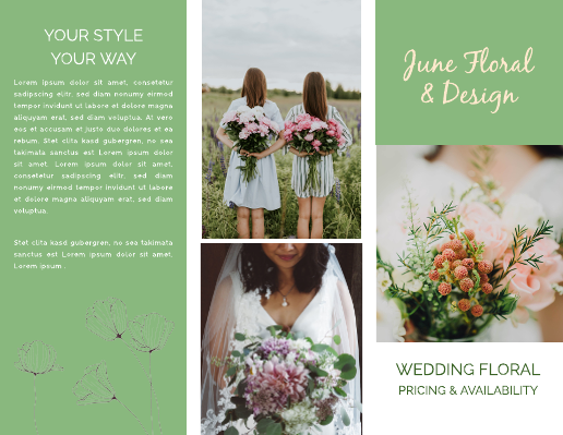 Green Wedding Floral Brochure Template
