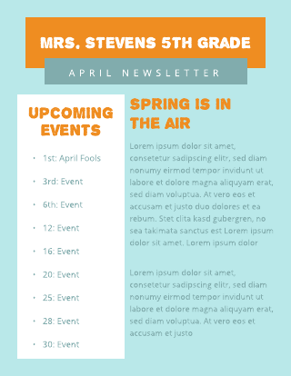 Orange and Blue 5th Grade newsletter Template