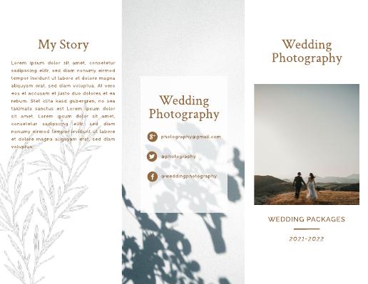 Brown Wedding Photographer Brochure Template