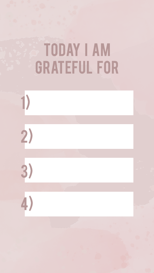 Pink Watercolor Grateful Instagram Story Template