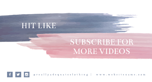 Watercolor Blue and Pink Youtube End Screen Template