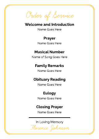 Funeral Order of Service Template