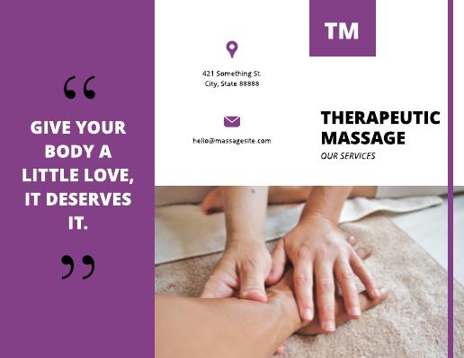 Purple Therapeutic Massage Brochure Template