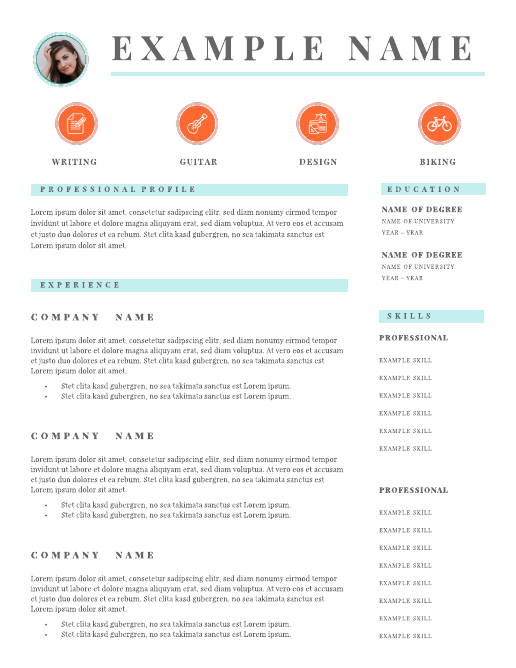 Airy icons infographic resume template