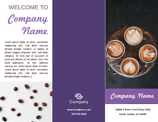 Lavender Cafe Restaurant Brochure Template