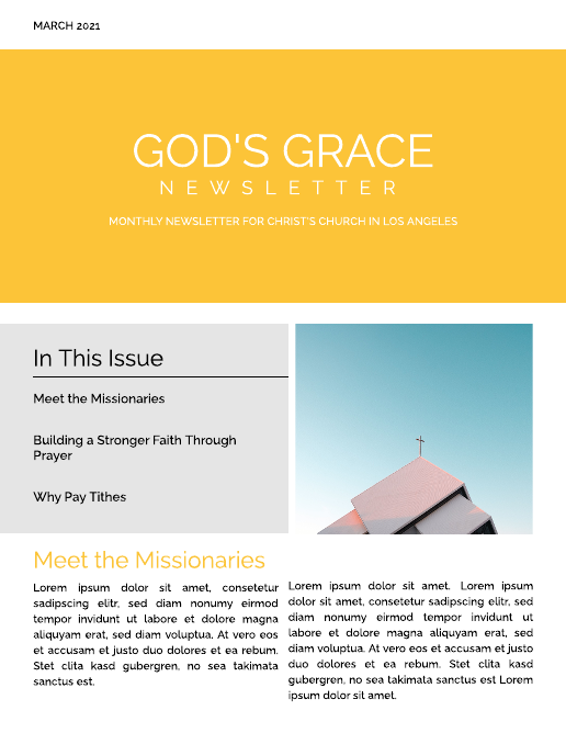 Yellow Block Church Newsletter Template
