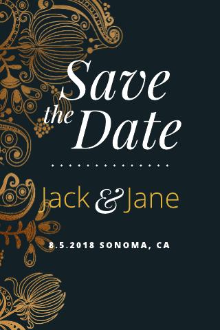 Goldleaf Save-the-Date Postcard Template