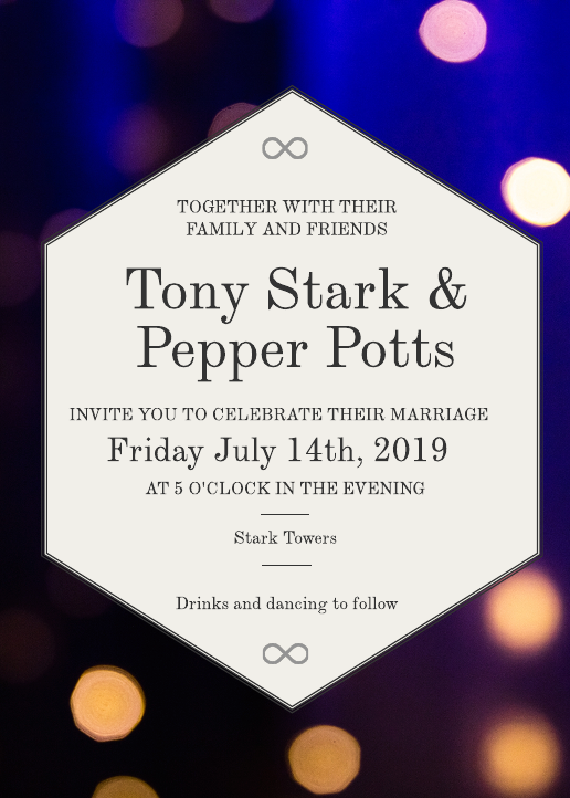Tony Stark Wedding Invitation
