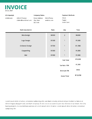 Rolling green sales invoice template