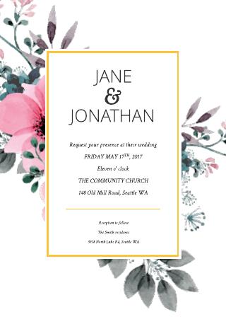 Floral Splash Wedding Invitation Template