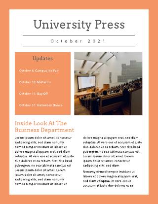 Orange and Grey University School Newsletter Template