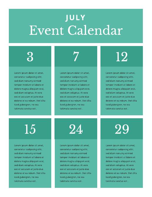 Block event calendar template