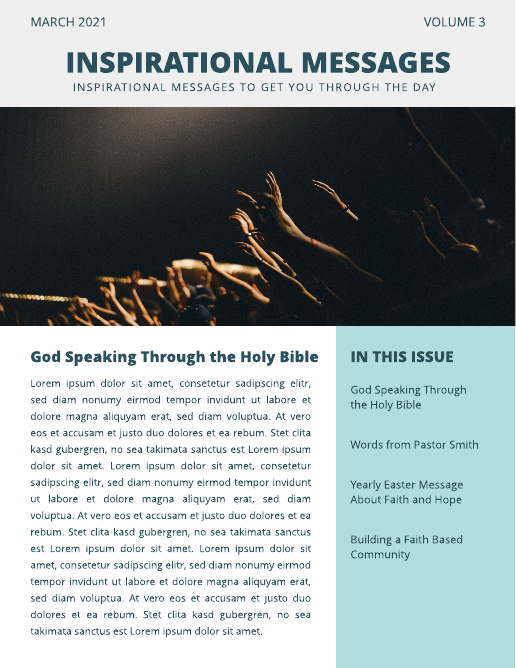 Light Blue and Grey Church Congregation Photo Church Newsletter