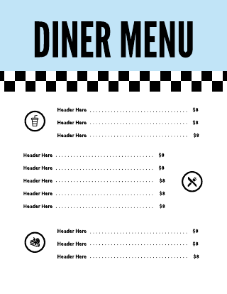 Blue Checkered Diner Menu Template