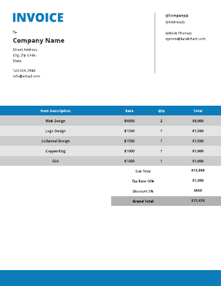 Blue professional invoice template