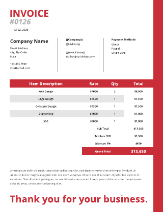 Red services rendered invoice template