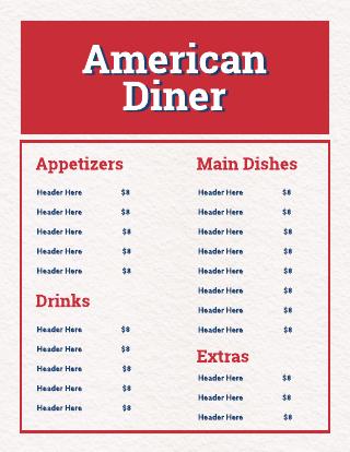 American Diner Menu Template