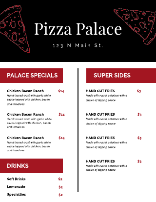 Black and Red Pizza Cafe Menu Template