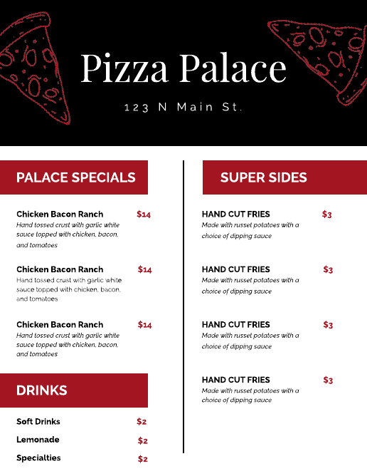 Black and Red Pizza Cafe Menu