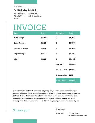 Creative graphic design invoice template