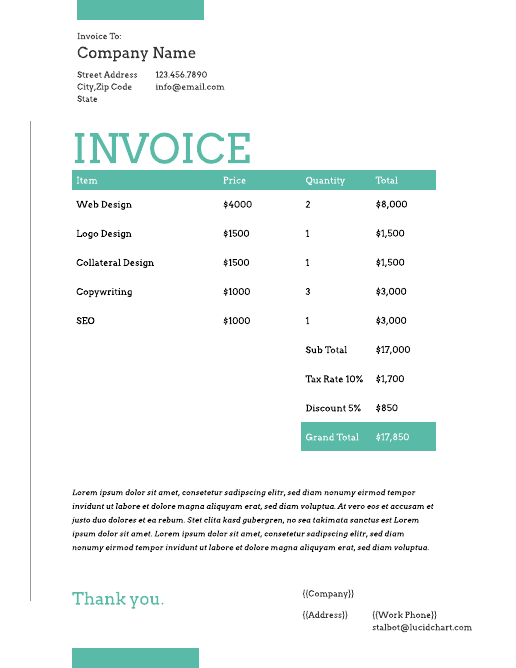 Creative Graphic Design Invoice