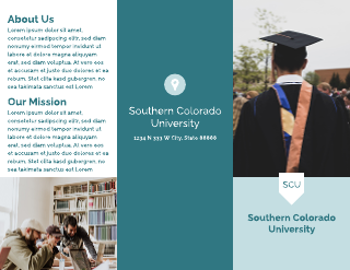 Simple Blue College Tri-Fold Brochure Template