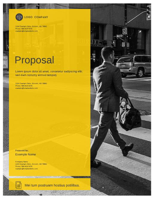 Transparent yellow marketing proposal template