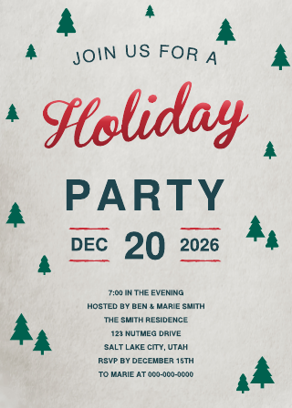 Casual Holiday Party Invitation (5x7) Template